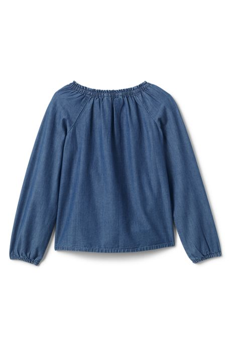 Girls Plus Gathered Neck Chambray Top