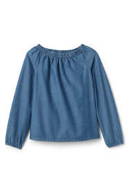 Little Girls Gathered Neck Chambray Top