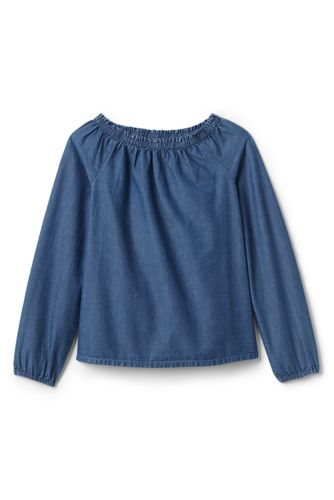 Girls' Gathered Neck Chambray Top