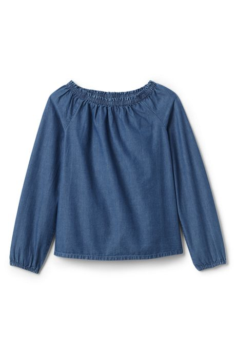 Girls Gathered Neck Chambray Top