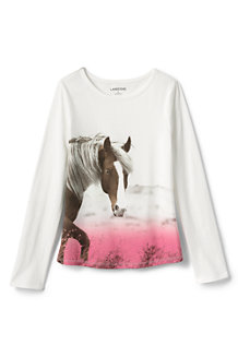Girls' Long Sleeve Allover Graphic Tee