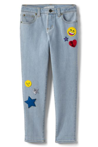 Lands' End Girls' Iron Knees Novelty Girlfriend Jeans - 7-8 years, Blue thumbnail