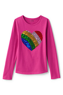 Girls' Long Sleeve Novelty Embellished Graphic Tee