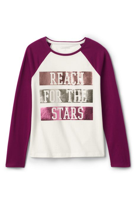 Girls Plus Size Raglan Graphic Tee