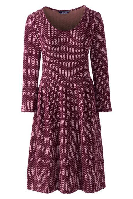 Women's Plus Size 3/4 Sleeve Knit Scoop Neck Popover Dress