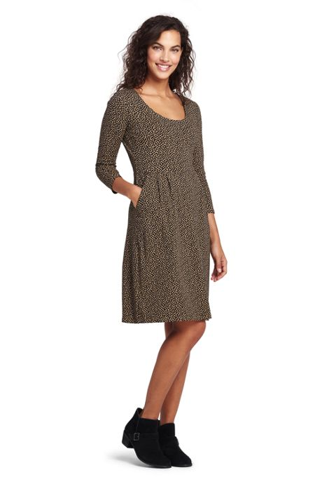 Women's 3/4 Sleeve Knit Scoop Neck Popover Dress
