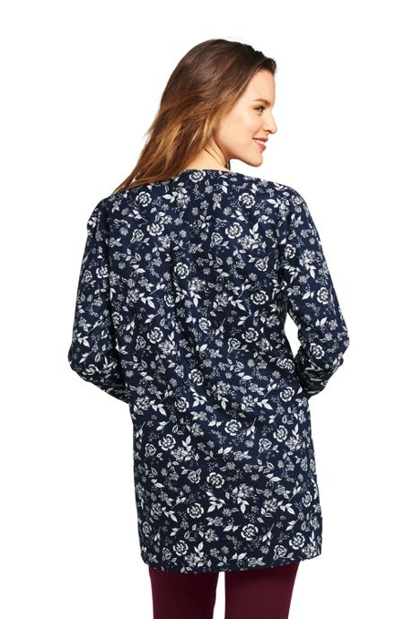 Women's Petite Long Sleeve Tunic Easy Care Poplin Split Neck Pattern