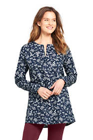 Women's Long Sleeve Tunic Easy Care Poplin Split Neck Pattern