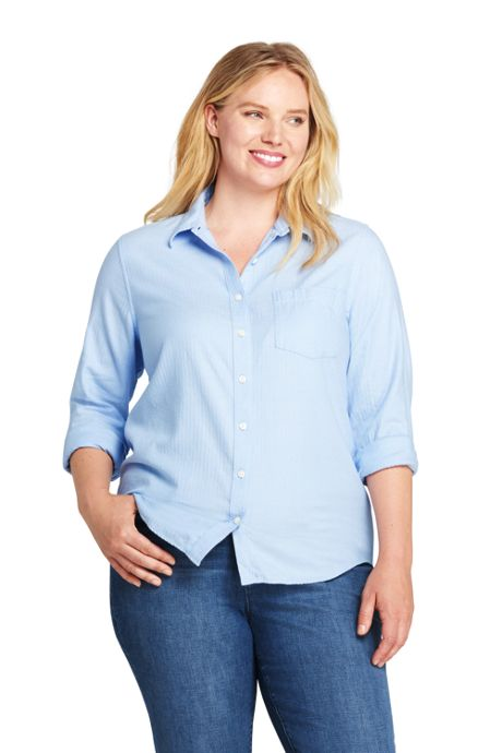 Women's Plus Size Herringbone Flannel Shirt