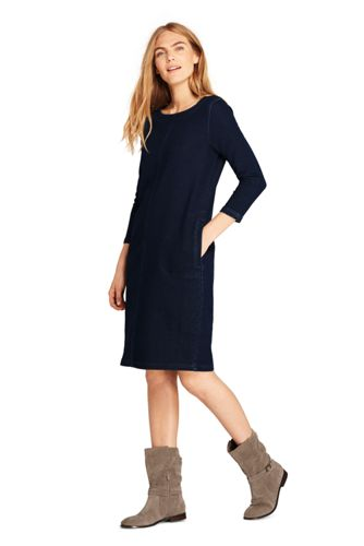 La Robe Housse en Denim Stretch Manches 3/4, Femme Stature Standard