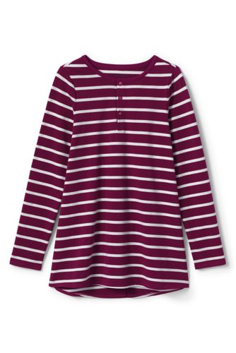 Girls' Striped Henley Tunic Top