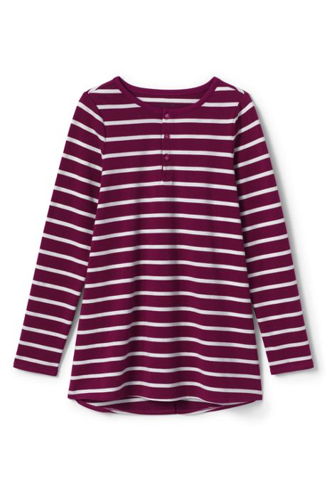 Girls Plus Size Stripe Henley Tunic Top