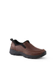 School Uniform Men's Wide Width All Weather Leather Slip On Moc Shoes