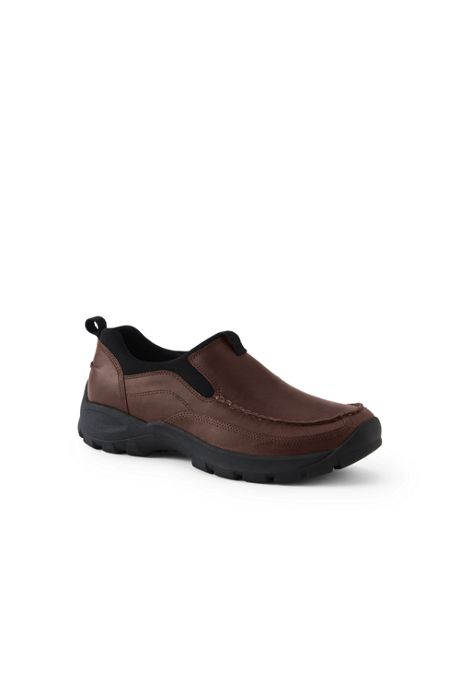 School Uniform Men's All Weather Leather Slip On Moc Shoes