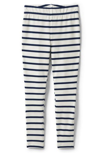 Lands' End Girls' Iron Knees Ankle Length Striped Jersey Leggings - 8-9 years, Ivory thumbnail
