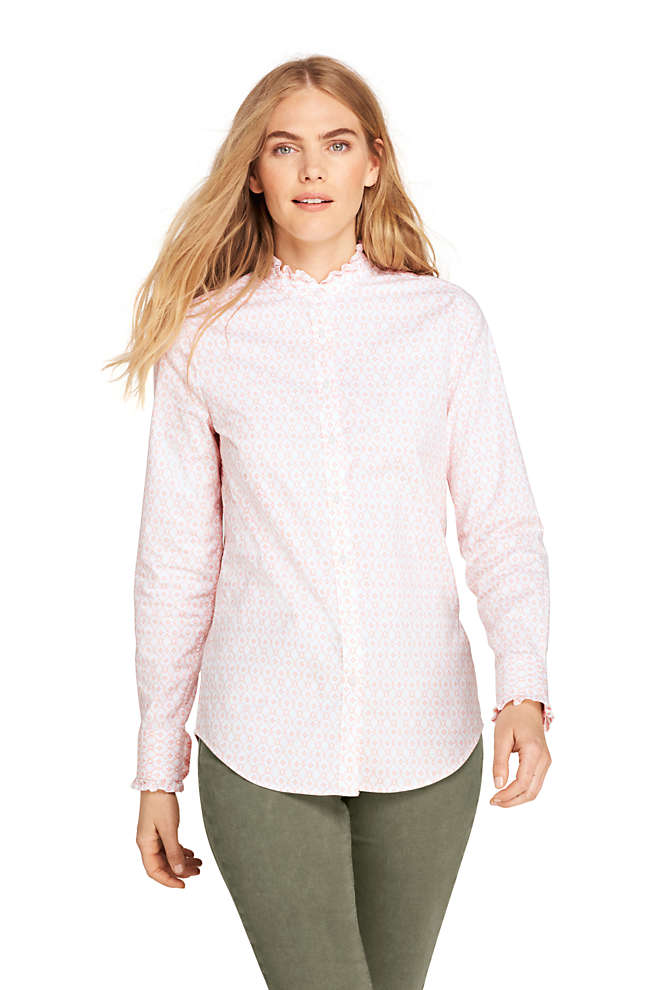 Women's Ruffle Oxford Shirt, Front