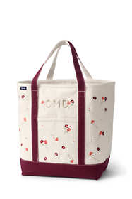 Embroidered Large Open Top Canvas Tote Bag