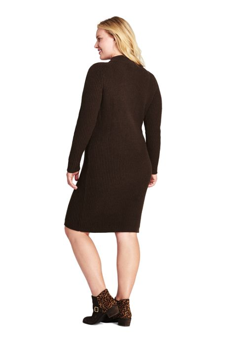 Women's Plus Size Long Sleeve Mock Neck Cable Sweater Dress