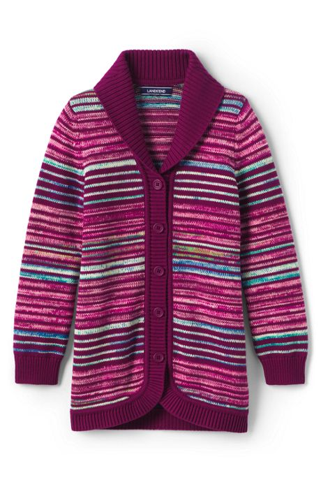 Little Girls Long Textured Cardigan