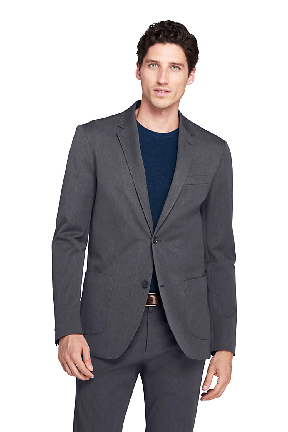 Lands' End Men's Tailored Fit Comfort-First Travel Blazer (Dark Asphalt)