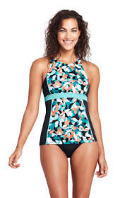 Women's Chlorine Resistant High-neck Racerback Tankini Top Swimsuit Print