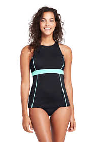Women's Chlorine Resistant High-neck Racerback Tankini Top Swimsuit
