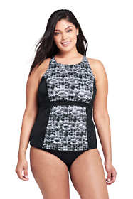 Women's Plus Size Chlorine Resistant High-neck Racerback Tankini Top Swimsuit Print