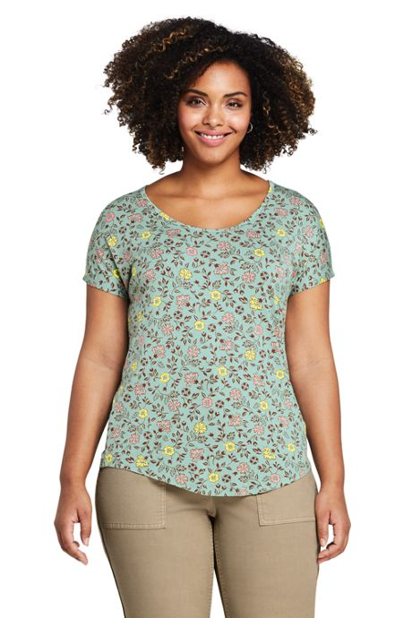 Women's Plus Size U-neck Jersey T-shirt