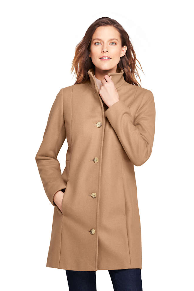Women's Tall Fit and Flare Long Wool Coat, Front