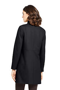 Women's Petite Fit and Flare Long Wool Coat, Back