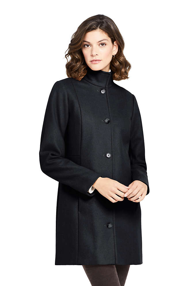 Women's Fit and Flare Long Wool Coat, Front