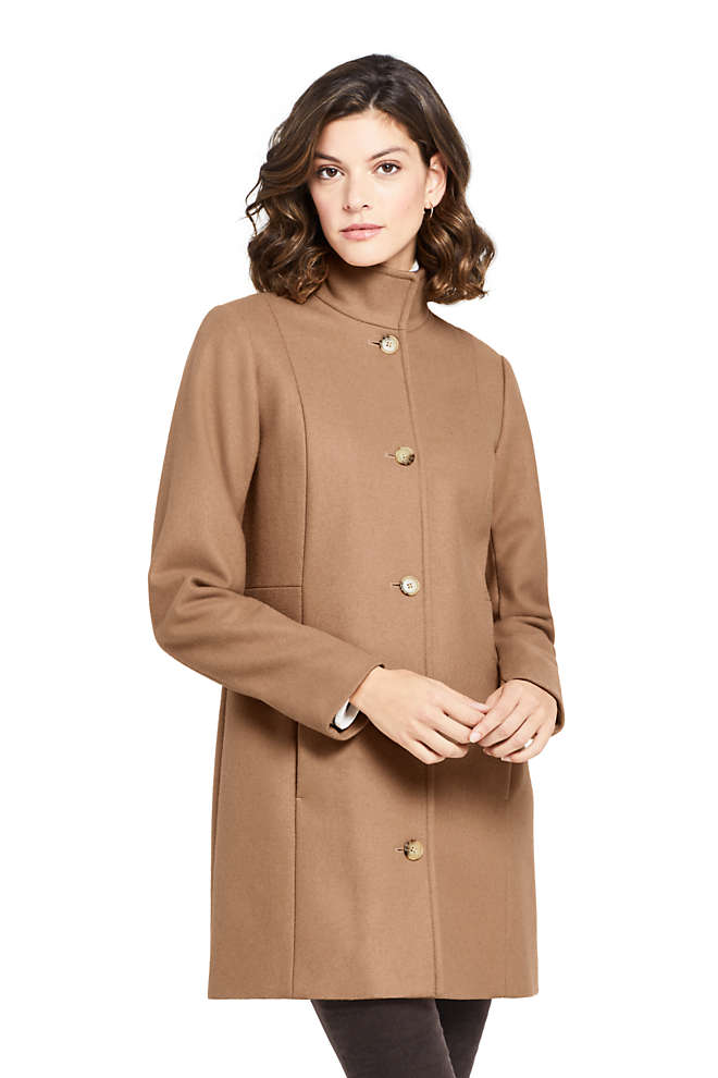 Women's Petite Fit and Flare Long Wool Coat, Front
