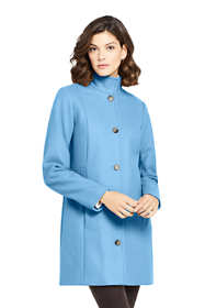 Women's Petite Fit and Flare Long Wool Coat