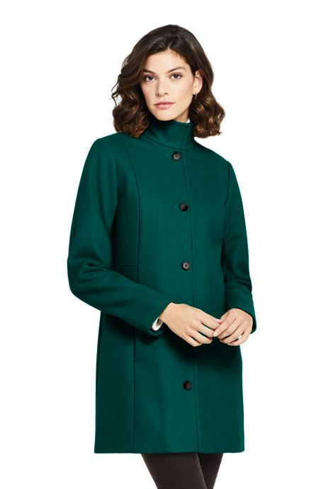 Women's Fit and Flare Long Wool Coat