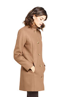 Women's Petite Fit and Flare Long Wool Coat, alternative image