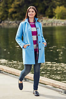 Women's Plus Size Petite Fit and Flare Long Wool Coat, Unknown