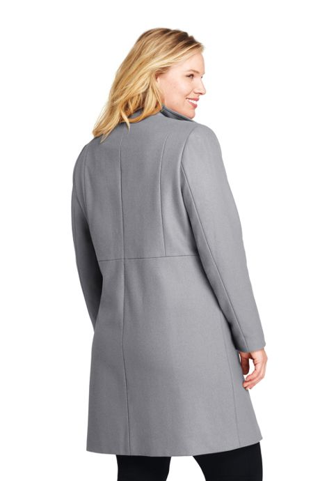 Women's Plus Size Petite Fit and Flare Long Wool Coat