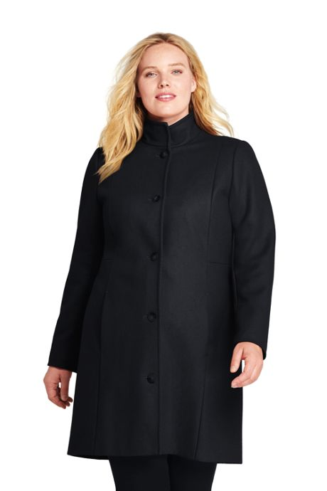 Women's Plus Size Fit and Flare Long Wool Coat