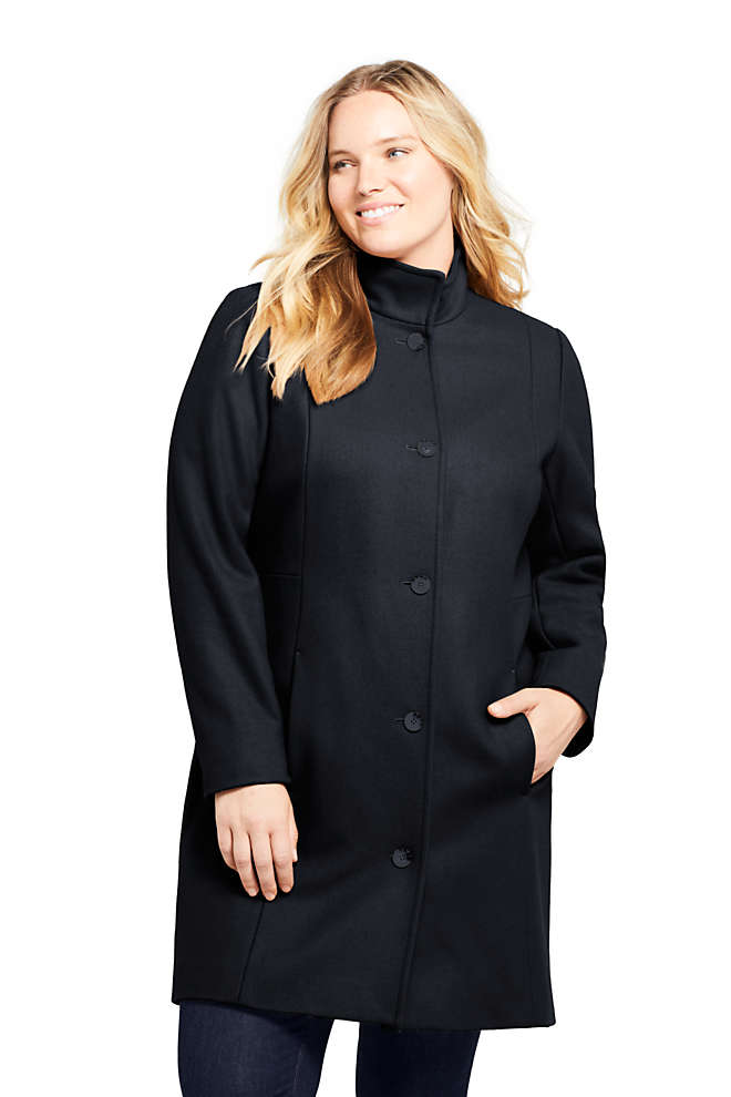 Women's Plus Size Petite Fit and Flare Long Wool Coat, Front
