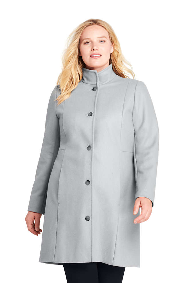 Women's Plus Size Fit and Flare Long Wool Coat, Front