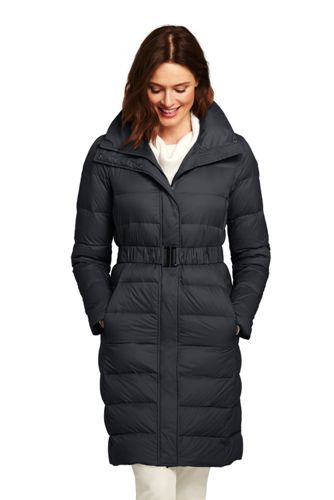 Women's Petite Ultra Light Down Coat with Belt