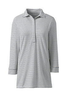 Women's Striped Cotton/Modal Polo Tunic