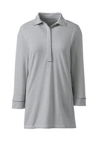 Women's Striped Cotton/Modal Polo Tunic