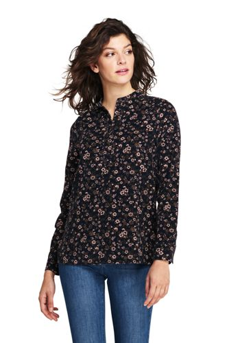 Women's Plus Patterned Pinwale Cord Popover