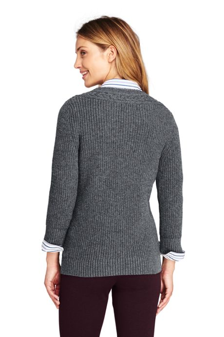 Women's Tall Lofty Blend 3/4 Sleeve V-neck Tennis Sweater