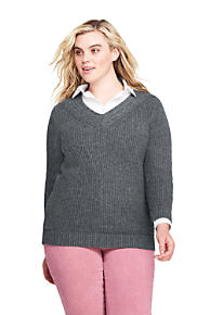 b47d2956d75 Women s Plus Size Lofty Blend 3 4 Sleeve V-neck Tennis Sweater