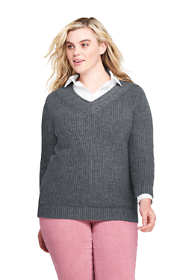 Women's Plus Size Lofty Blend 3/4 Sleeve V-neck Tennis Sweater