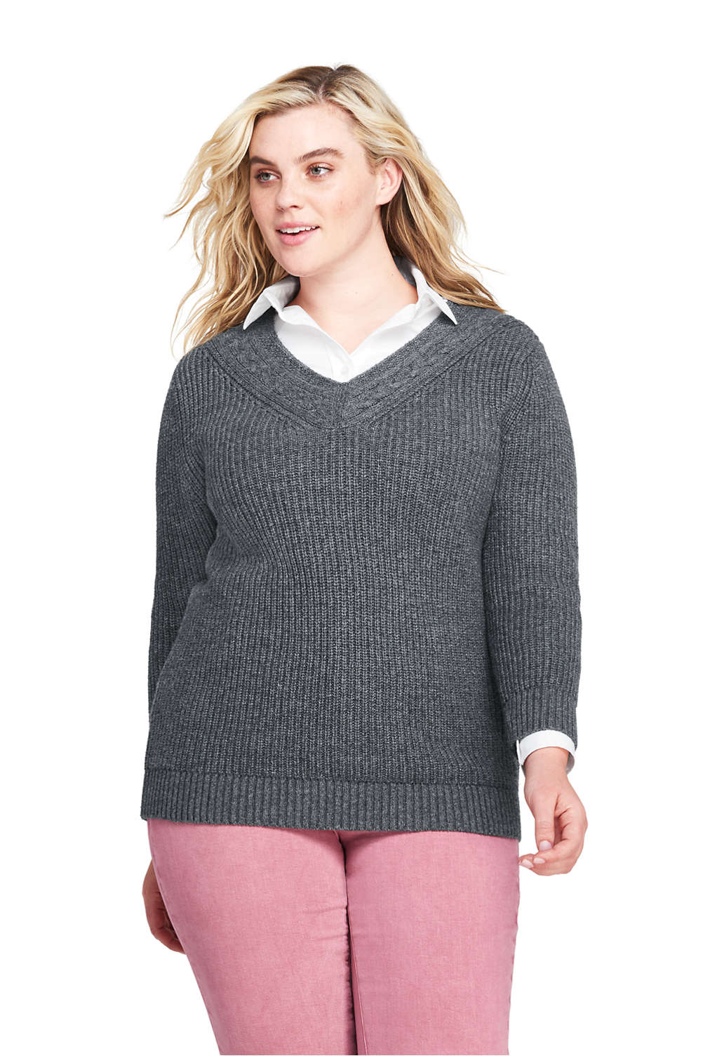 31e77d93d Women s Plus Size Lofty Blend 3 4 Sleeve V-neck Tennis Sweater from ...