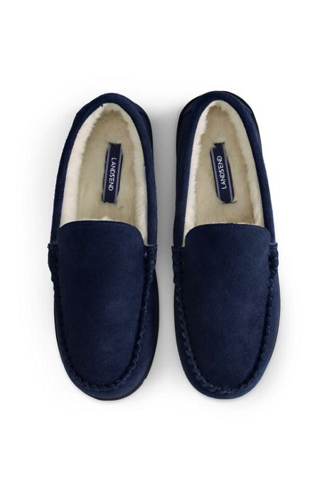 School Uniform Men's Suede Leather Moccasin Slippers