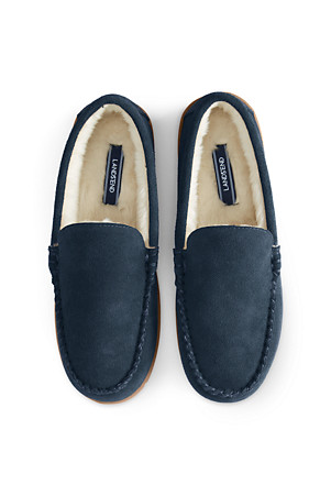 43c0f3fb843b02 Men's Suede Moccasin Slippers with Faux Fur Lining | Lands' End